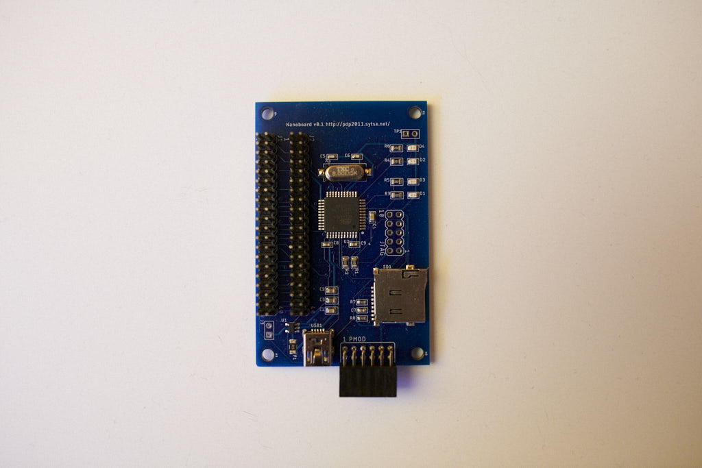 prototype shim pcb for de0nano and pidp-11 console